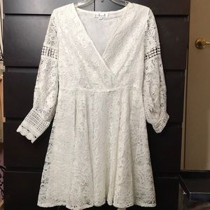 White lace cross over dress